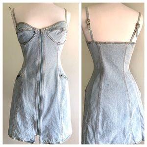 DKNY 90s Acid Washed Bustier Dress Size 6